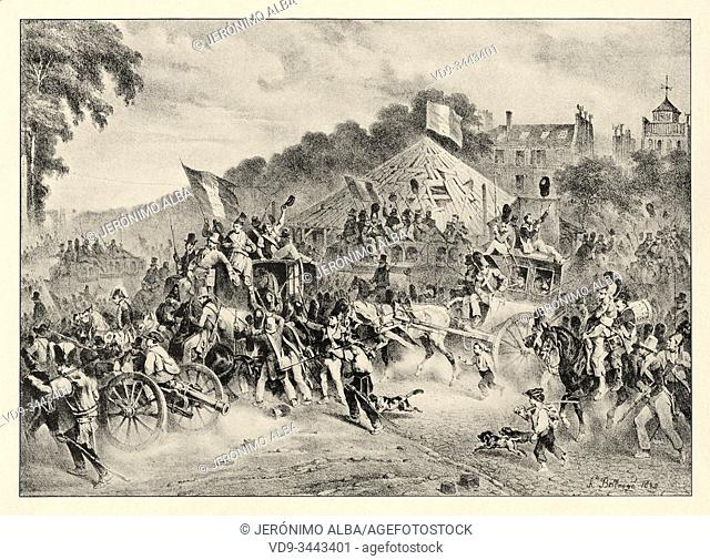 Revolution of 1830, August 3. Departure of populace for Rambouillet. History of France, old engraved illustration image from the book Histoire contemporaine par...