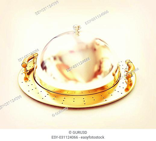 Restaurant cloche with lid on a white background. 3D illustration. Vintage style