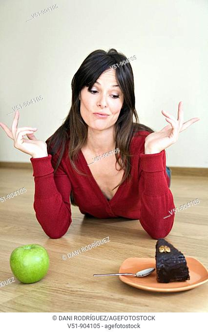 Woman, undecided, food, young adult