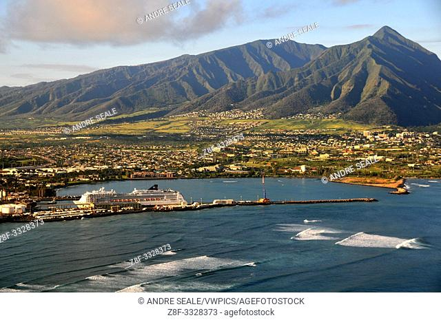 Aerial view of Kahului, Maui, Hawaii, USA