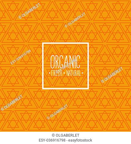 Organic menu - motivational poster or banner with hand-lettering phrase eat healthy on orange background with trendy linear seamless geometric pattern