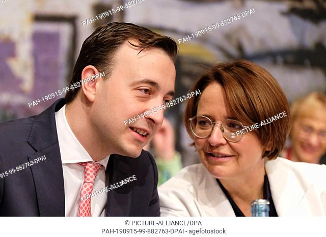 15 September 2019, Saxony, Leipzig: Paul Ziemiak, Secretary General of the CDU, will speak with Annette Widmann-Mauz, Chairwoman of the Women's Union and...