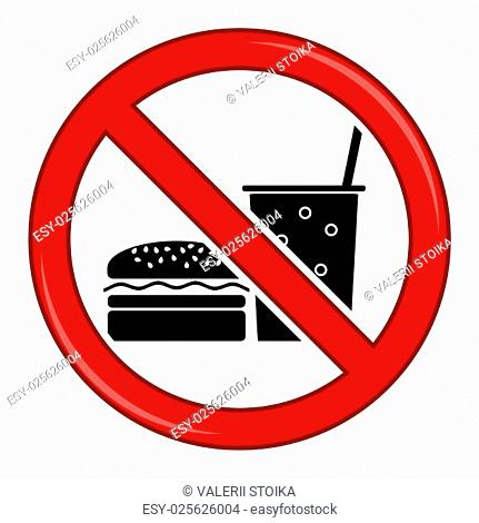 No Food Allowed Symbol. Prohibition Sign Isolated on White Background. No Food or Drink Area Sign