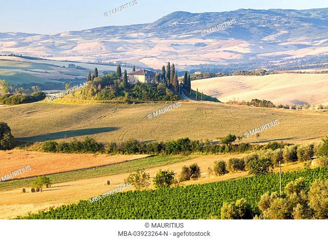 View over Val d'Orcia Tuscany Italy and farm in typical scenery of Tuscany