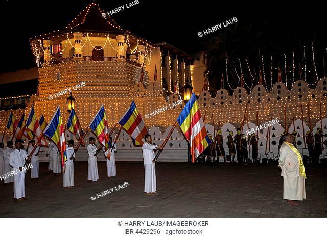 Flag bearers, Esala Perahera Buddhist festival, Sri Dalada Maligawa or Temple of the Sacred Tooth Relic, Kandy, Central Province, Sri Lanka