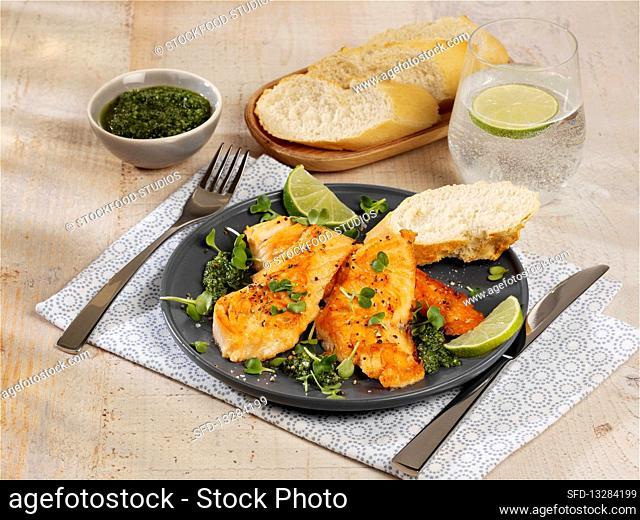 Salmon escalopes with dill pesto