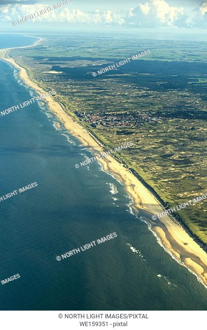 Europe, Netherlands. Aerial view of the coastline on the North Sea. North of Amsterdam