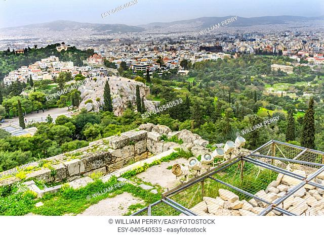 Areopagus Saint Paul Rock Agora Acropolis Athens Greece. Areopagus rock where Saint Paul made his speech about unknown god in Athens