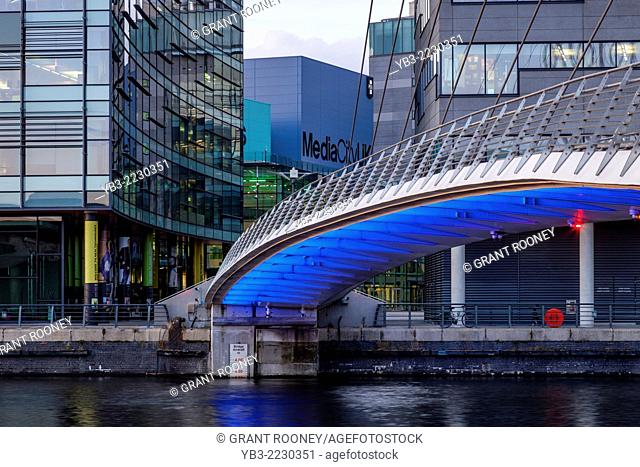 The Media City Footbridge and Media City Uk, Salford Quays, Manchester, England