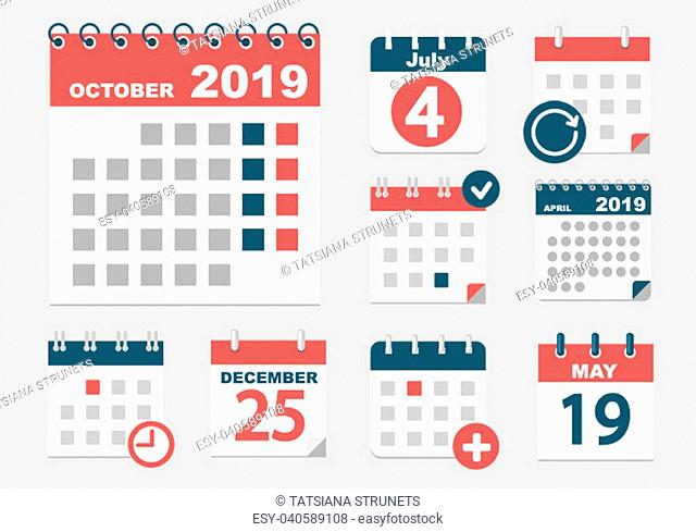 Set of different calendars with different options for 2018-2019 years with dates, holidays and weekands. Vector illustration
