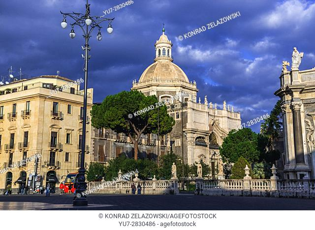 Church of the Abbey of Saint Agata (Chiesa della Badia di Sant'Agata) in Catania city, east side of Sicily Island, Italy. View from Cathedral Square