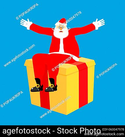 Santa Claus sitting on gift box isolated. Christmas and New Year Vector Illustration
