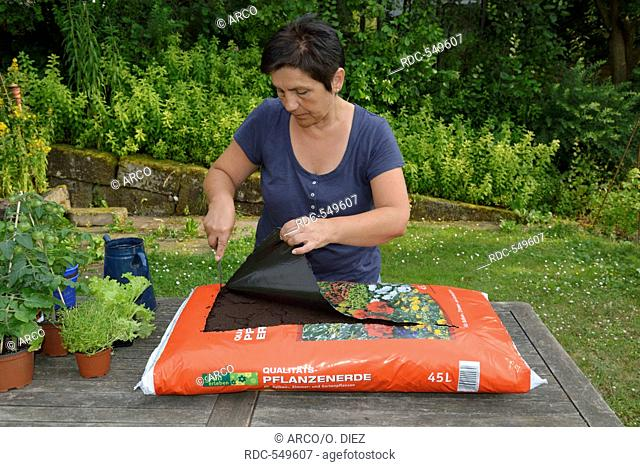 Planting sack of potting compost with herbs