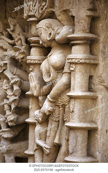 Carved idols on the inner wall of Rani ki vav, an intricately constructed stepwell on the banks of Saraswati River. Memorial to an 11th century AD King Bhimdev...