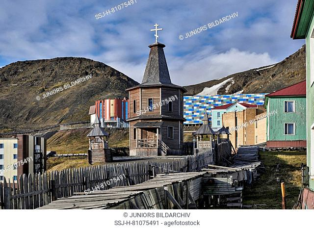 Wooden Orthodox Church in russian mining town Barentsburg. Svalbard, Norway