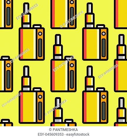 Vape device vector cigarette vaporizer vapor juice vape bottle seamless pattern flavor illustration battery coil. Trend new culture electronic nicotine liquid