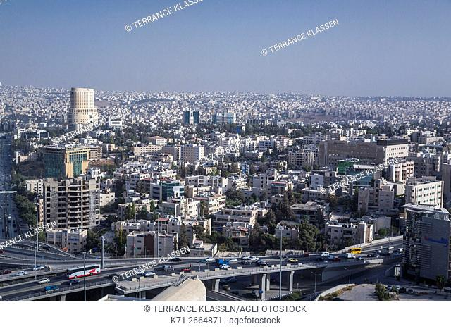A downtown skyline view of Amman, Hashemite Kingdom of Jordan, Middle East