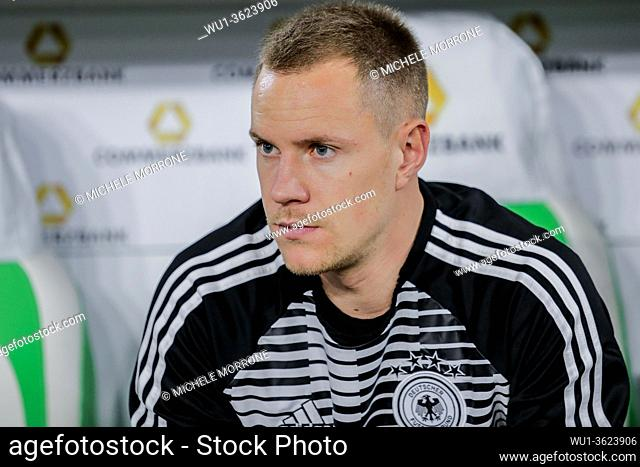 Wolfsburg, Germany, March 20, 2019: portrait of German goalkeeper Marc-Andre ter Stegen sitting on the bench during the international soccer game Germany vs...