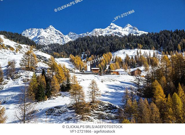 Snowy landscape and colorful trees in the small village of Sur Val Sursette Canton of Graubünden Switzerland Europe