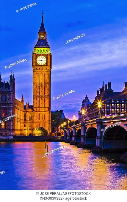 Elizabeth Tower, Big Ben, Clock tower, Houses of Parliament, Palace of Westminster, Westminster Bridge, City of Westminster, River Thames, London, England, UK