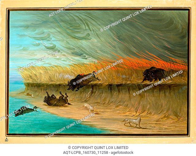 George Catlin, American (1796-1872), Prairie Meadows Burning, 1861-1869, oil on card mounted on paperboard