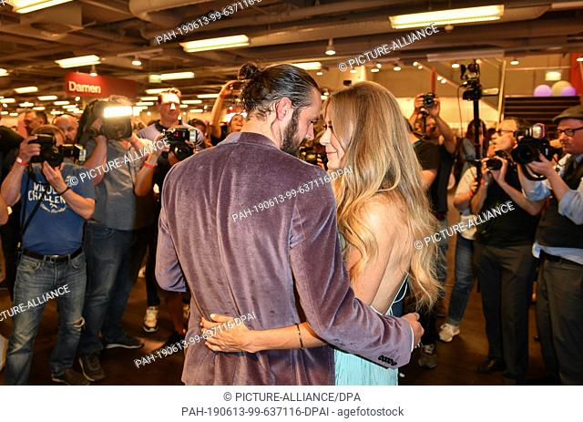 "12 June 2019, Berlin: The actress Jenny Elvers and her new friend Simon Lorinser come to an exclusive Late Night Shopping Event """"Expect the Unexpected"""" at the..."