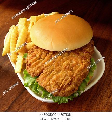 Breaded fried chicken sandwich with lettuce and french fried potatoes