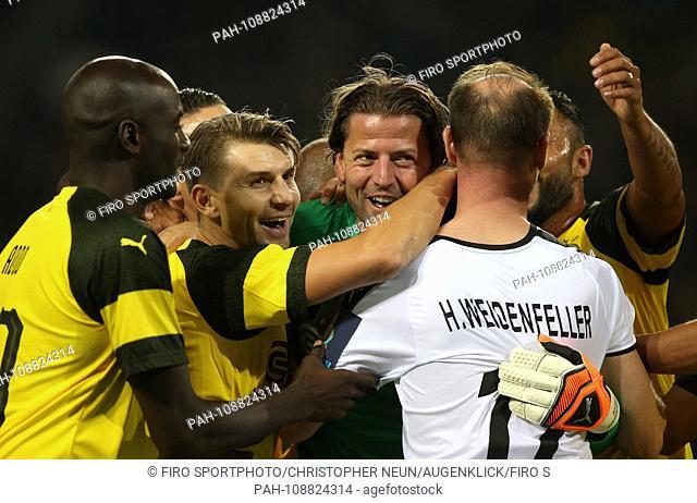 firo: 07.09.2018, football, BVB, Borussia Dortmund, farewell match Roman Weidenfeller, season 2018/2019, Roman WEIDENFELLER, half figure, gesture