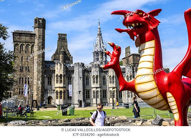 Cardiff Castle and Welsh Dragon sculpture, Cardiff, Wales