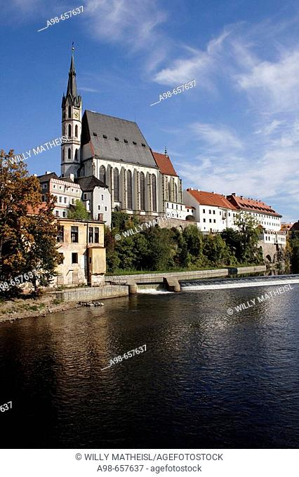 View of Vltava river and church of St. Vitus, Cesky Krumlov, Czech Republic