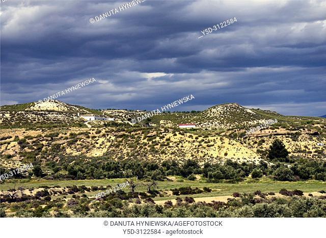 Landscape of Altiplano region of Granada, Granada High Plains, view from Baza in direction of Sierra de Castril, Granada province, Andalusia, Spain, Europe