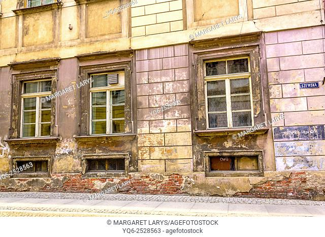 Old buildings at Szewska Street in Wroclaw, Poland