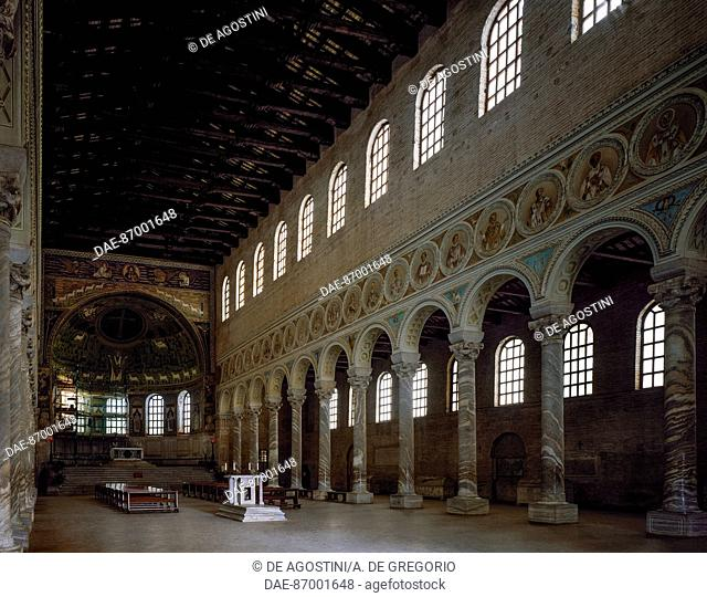 The nave of the Basilica of Sant'Apollinare in Classe, Ravenna (UNESCO World Heritage Site, 1996), Emilia-Romagna, Italy, 6th century