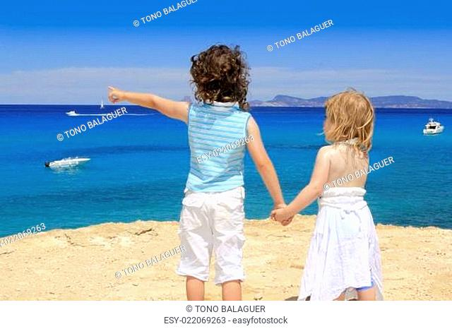 two sister girls summer Cala Saona Formentera
