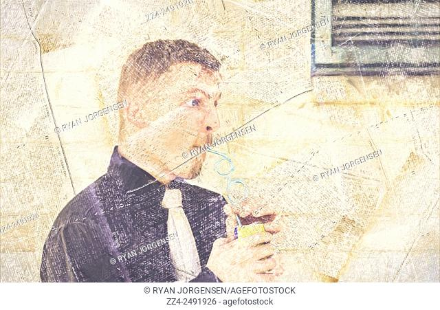 Unusual digital artwork of a quirky man drinking from soda can on textured commercial text. Vintage soda advert