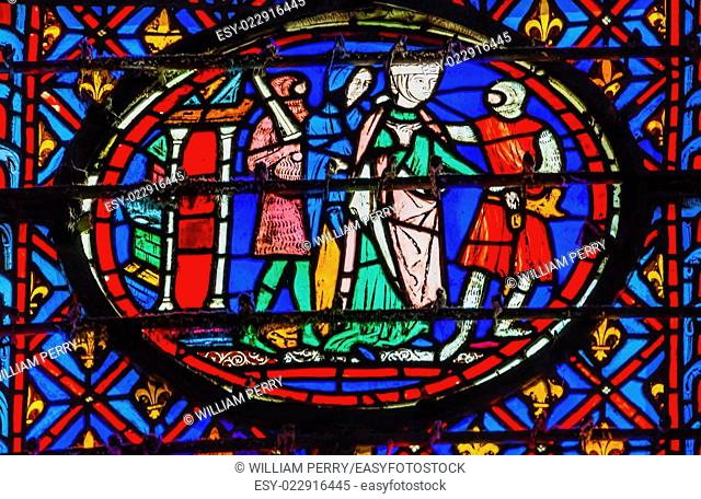 Knights Queen Medieval Life Stained Glass Saint Chapelle Paris France. Saint King Louis 9th created Sainte Chappel in 1248 to house Christian relics