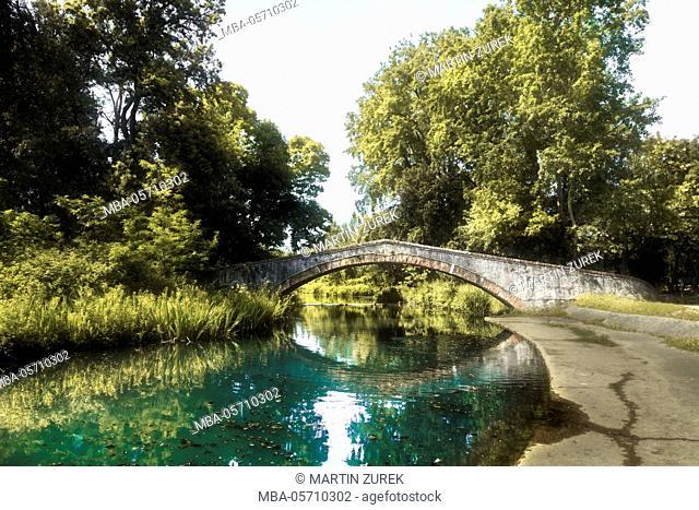 Italy, Pietrasanta, bridge, river, water, reflexion