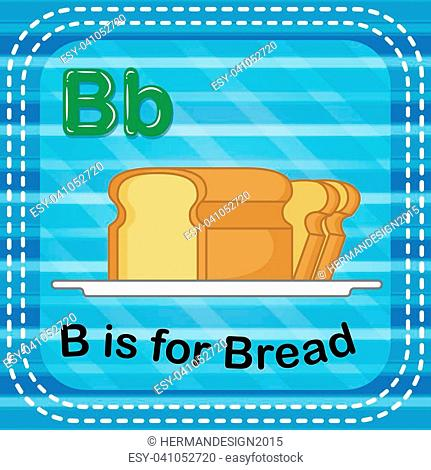 illustration of Flashcard letter B is for bread