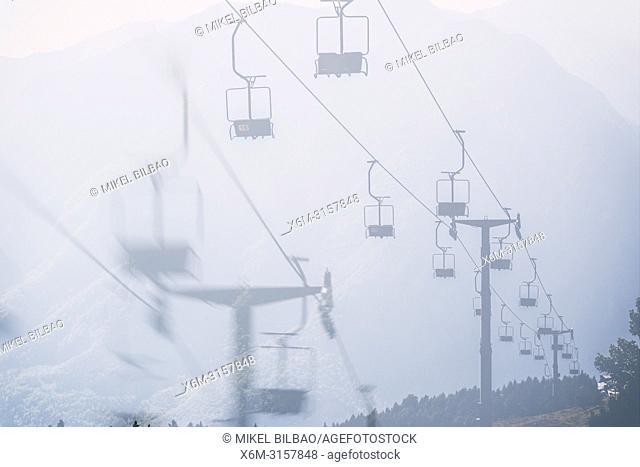 Sky lift in summer. Velika Planina sky area. Upper Carniola region. Slovenia, Europe