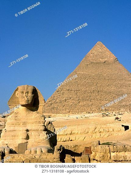 Egypt, Cairo, Giza, Sphinx, Pyramid of Chephren