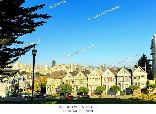 Painted Lady houses, Alamo Square area, San Francisco, California, USA