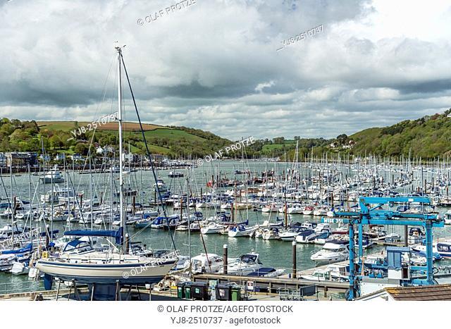 View at Dartmouth Marina at the River Dart, Devon, England, UK
