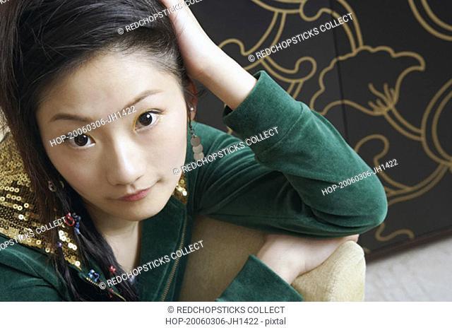 High angle view of a teenage girl