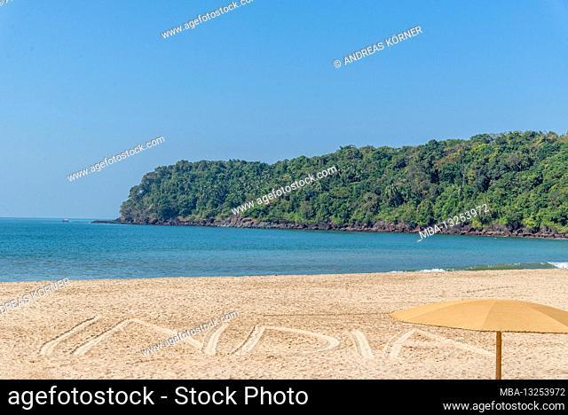 India written in the sand, Agonda Beach, Goa, India