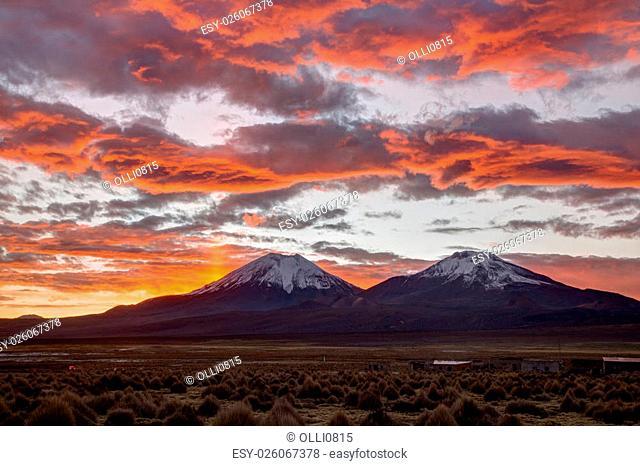 Photograph of a beautiful sunset in Sajama National Park, Bolivia