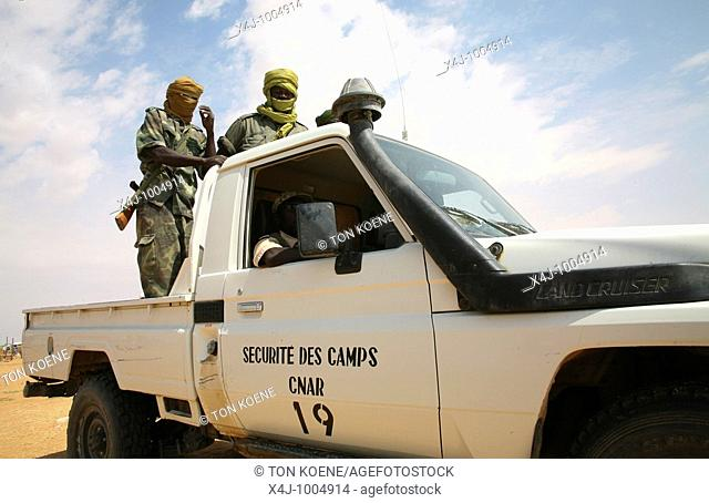 Chadian police/gendarmerie provides security in the refugeecamps in chad to reliefworkers