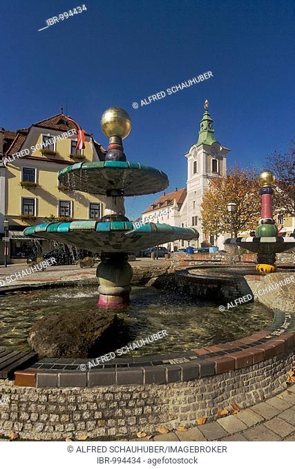 Hundertwasser fountain and townhall in Zwettl main square, Waldviertel or Forest Quarter, Lower Austria, Europe