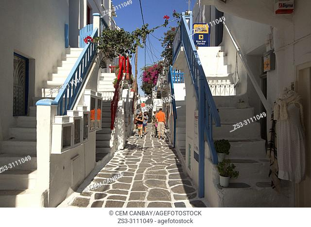 Tourists walking in the alleys of the town center, Mykonos, Cyclades Islands, Greek Islands, Greece, Europe