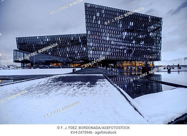 Harpa Concert Hall building at Reykjavik Harbour in winter, Iceland