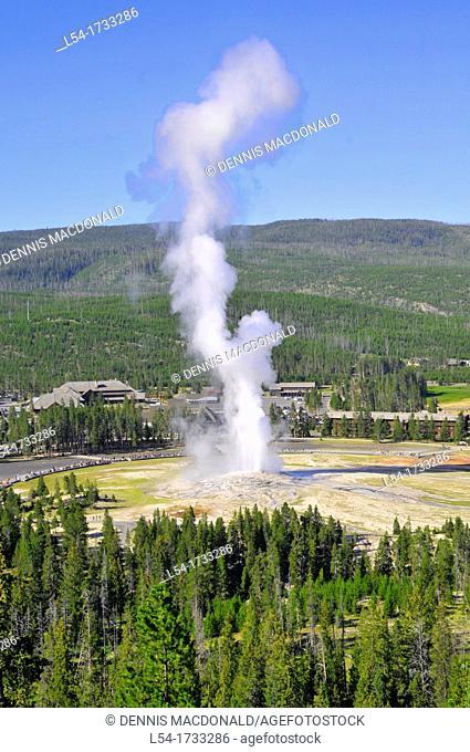 Old Faithful Geyser Eruption Yellowstone National Park Wyoming, WY